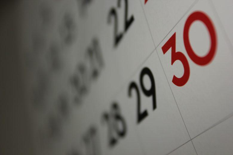 Calendar of wedding dates